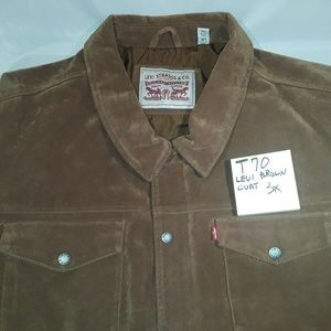 T70 Men's Levi's Brown Jacket - 3 Small Oil Spots